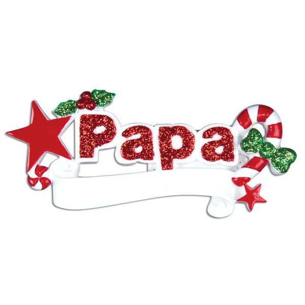 OR744 - Papa Personalized Christmas Ornament