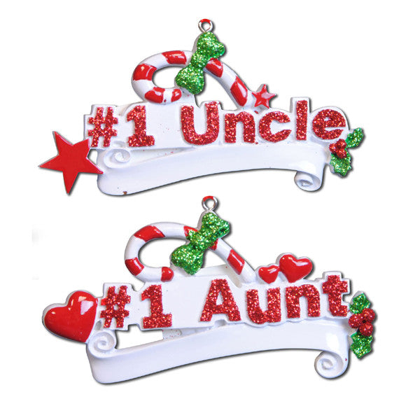 OR745-A - #1 Aunt (8)/#1 Uncle (4) Personalized Christmas Ornament