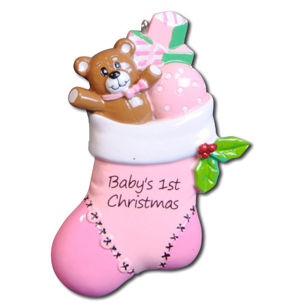OR796-P - Pink Baby Stocking Personalized Christmas Ornament