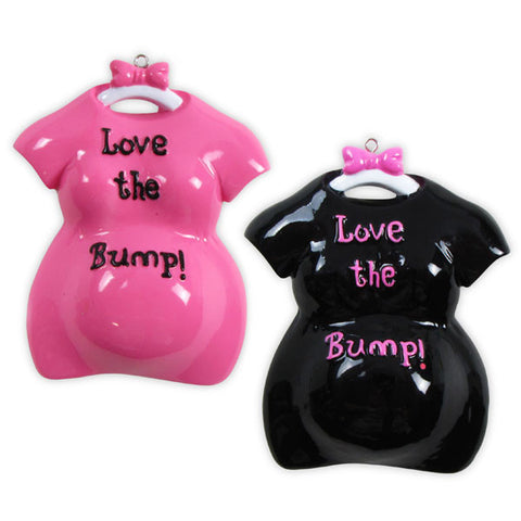 OR800-A - Love The Bump (6 Black), (6 Pink) Personalized Christmas Ornament