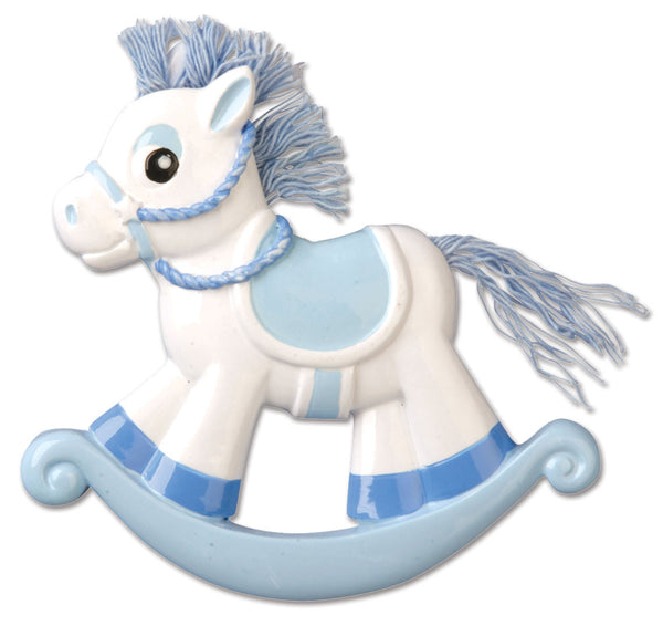 OR803-B - Blue Rocking Horse Personalized Christmas Ornament