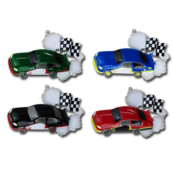 OR814-A - Child Race Car (Assorted) Personalized Christmas Ornament
