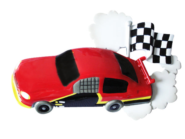 OR814-RED - Child Race Car Red Personalized Christmas Ornament