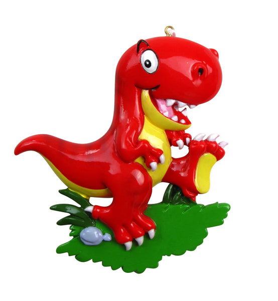OR816-RED - T-Rex Dinosaur Personalized Christmas Ornament