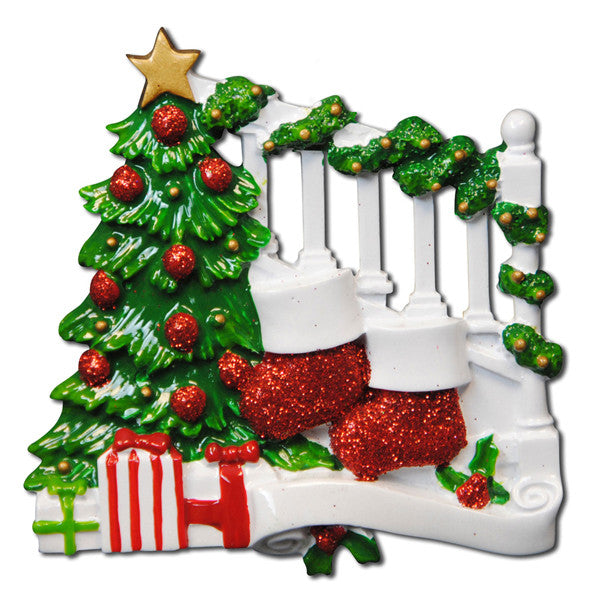 OR823-2 - Bannister with 2 Stockings Personalized Christmas Ornament