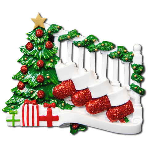 OR823-4 - Bannister with 4 Stockings Personalized Christmas Ornament