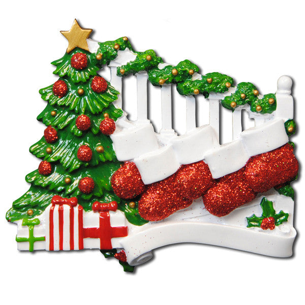 OR823-5 - Bannister with 5 Stockings Personalized Christmas Ornament