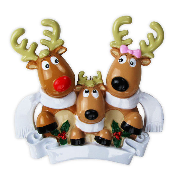 OR826-3 - Reindeer Family of 3 with Scarves Personalized Christmas Ornament