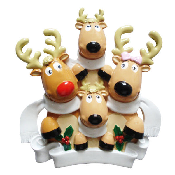 OR826-4 - Reindeer Family of 4 with Scarves Personalized Christmas Ornament