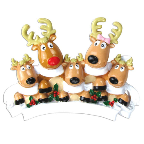 OR826-5 - Reindeer Family of 5 with Scarves Personalized Christmas Ornament