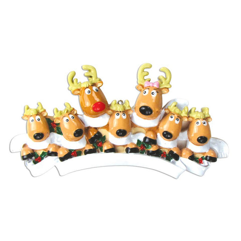 OR826-7 - Reindeer Family of 7 with Scarves Personalized Christmas Ornament