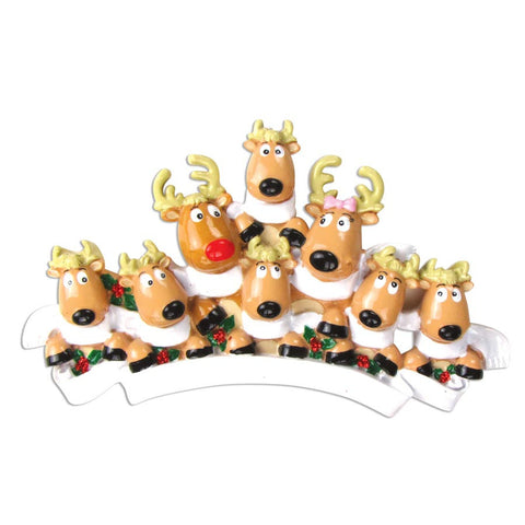 OR826-8 - Reindeer Family of 8 with Scarves Personalized Christmas Ornament