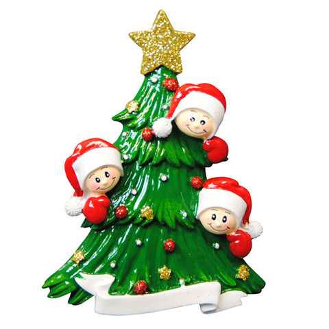OR827-3 - Christmas Tree with 3 Faces Personalized Christmas Ornament