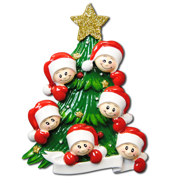 OR827-6 - Christmas Tree with 6 Faces Personalized Christmas Ornament
