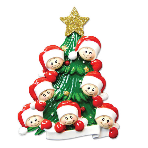 OR827-7 - Christmas Tree with 7 Faces Personalized Christmas Ornament