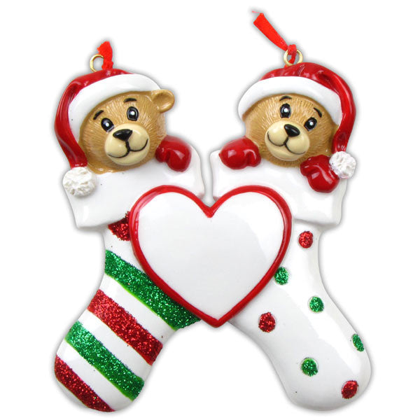 OR834-2 - 2 Bears Clinging To Stocking Personalized Christmas Ornament