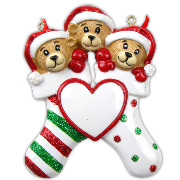 OR834-3 - 3 Bears Clinging To Stocking Personalized Christmas Ornament