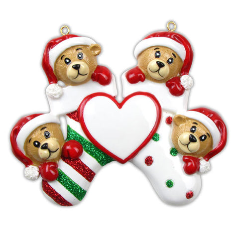 OR834-4 - 4 Bears Clinging To Stocking Personalized Christmas Ornament