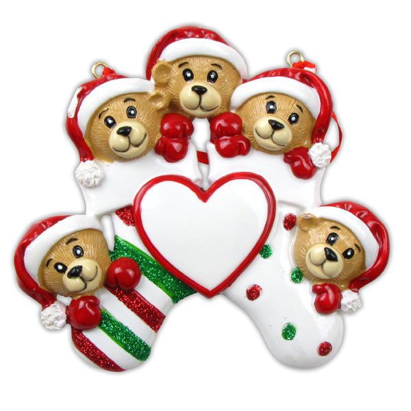 OR834-5 - 5 Bears Clinging To Stocking Personalized Christmas Ornament