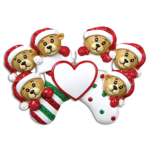 OR834-6 - 6 Bears Clinging To Stocking Personalized Christmas Ornament