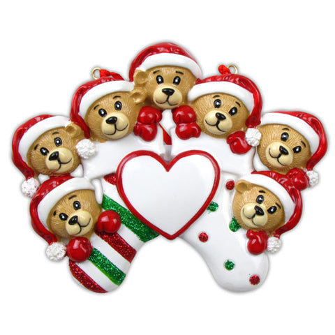 OR834-7 - 7 Bears Clinging To Stocking Personalized Christmas Ornament