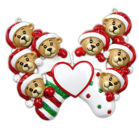 OR834-8 - 8 Bears Clinging To Stockings Personalized Christmas Ornament