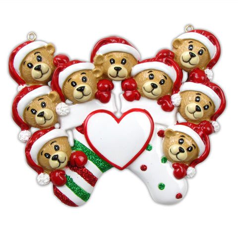 OR834-9 - 9 Bears Clinging To Stocking Personalized Christmas Ornament