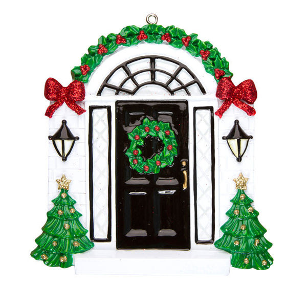 OR836 - Elegant Black Door Personalized Christmas Ornament