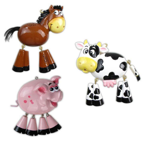 OR841-A - Farm Animals (5 Cow), (4 Horse), (3 Pig) Personalized Christmas Ornament