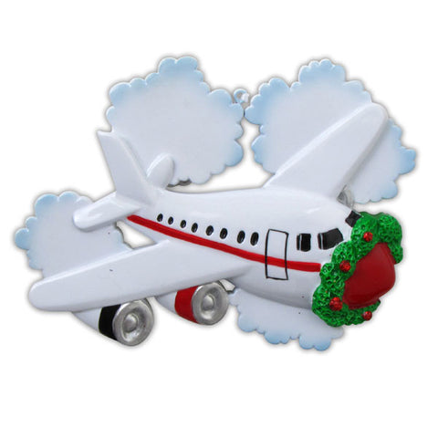 OR849 - Jetliner with Clouds Personalized Christmas Ornament