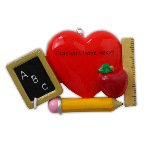 OR852 - Teacher with Apple Personalized Christmas Ornament