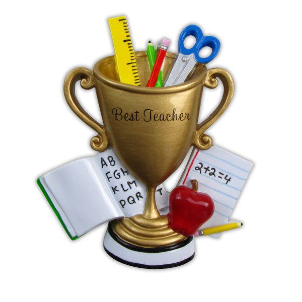 OR853 - Best Teacher Trophy Personalized Christmas Ornament ...