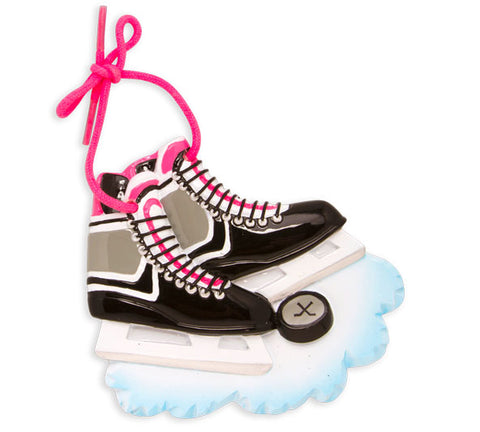 OR861-P - Hockey Skates (Pink) Personalized Christmas Ornament