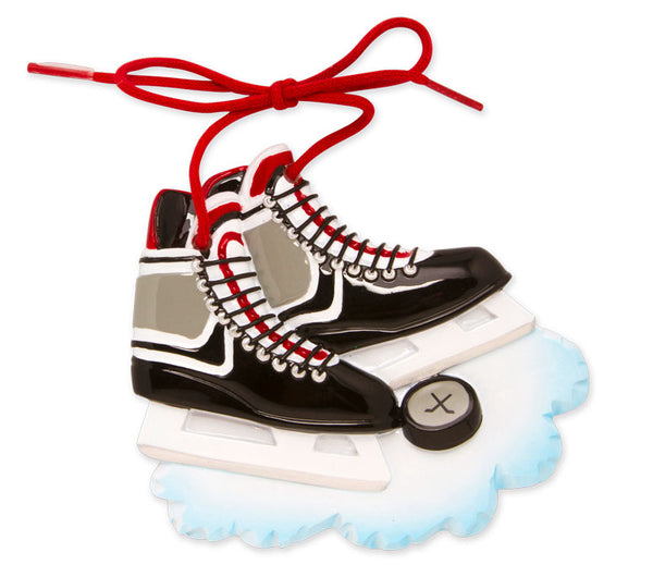 OR861-R - Hockey Skates (Red) Personalized Christmas Ornament