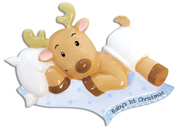 OR892-B - Baby Reindeer (Boy) Personalized Christmas Ornament