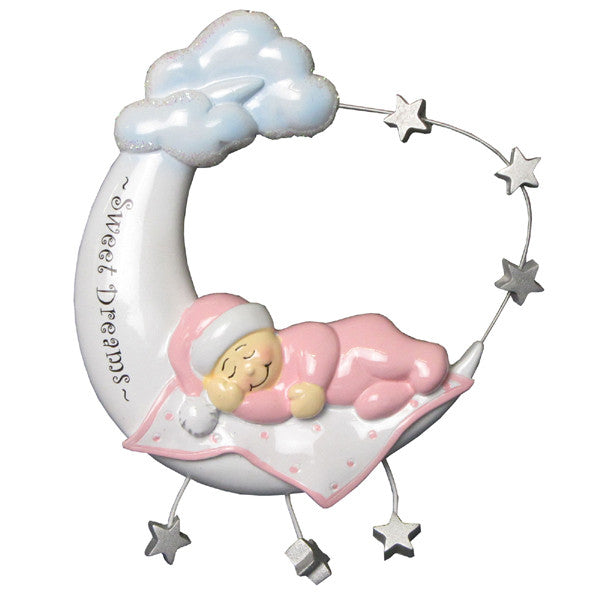 OR901-P - Pink Baby On Moon Personalized Christmas Ornament
