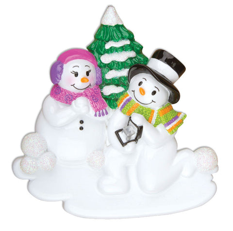 OR920 - Engagement Snow Couple Personalized Christmas Ornament