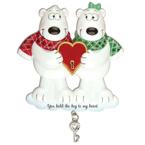 OR905 - Couples Key To My Heart Polar Bear Personalized Christmas Ornaments