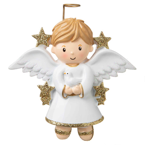 OR907-B - Angel (Boy) Personalized Christmas Ornament
