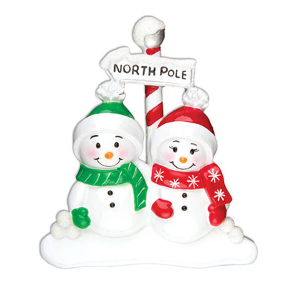OR967-2 - North Pole Family of 2 Personalized Christmas Ornament