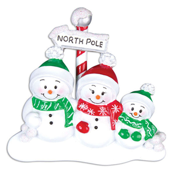OR967-3 - North Pole Family of 3 Personalized Christmas Ornaments