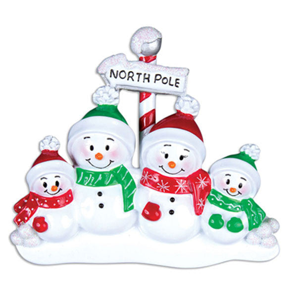 OR967-4 - North Pole Family of 4 Personalized Christmas Ornaments