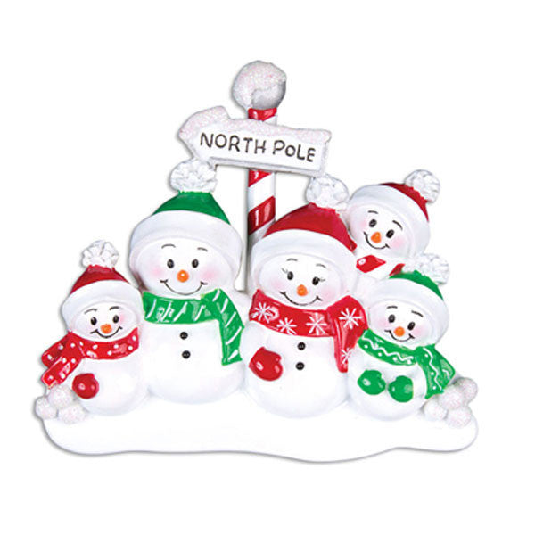 OR967-5 - North Pole Family of 5 Personalized Christmas Ornaments