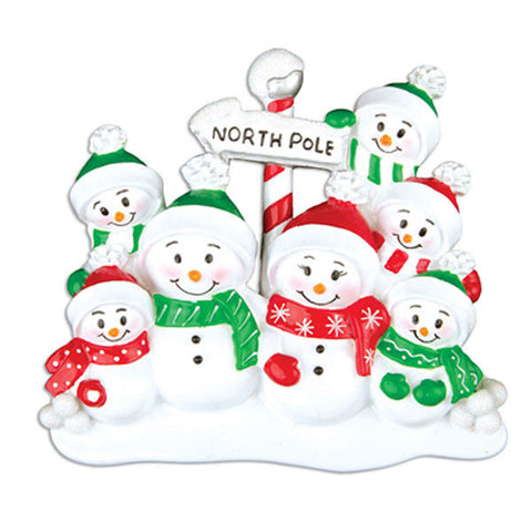 OR967-7 - North Pole Family of 7 Personalized Christmas Ornament
