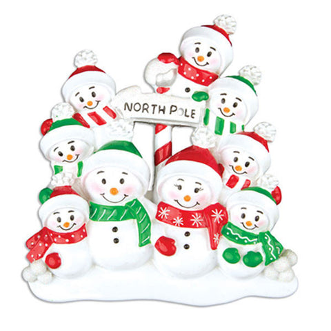 OR967-9 - North Pole Family of 9 Personalized Christmas Ornament