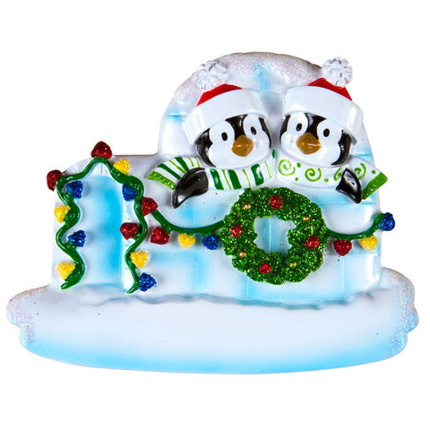 OR969-2 - Penguin Igloo of 2 Personalized Christmas Ornaments