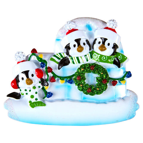 OR969-3 - Penguin Igloo of 3 Personalized Christmas Ornaments