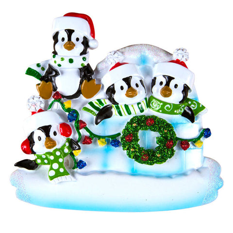 OR969-4 - Penguin Igloo of 4 Personalized Christmas Ornaments