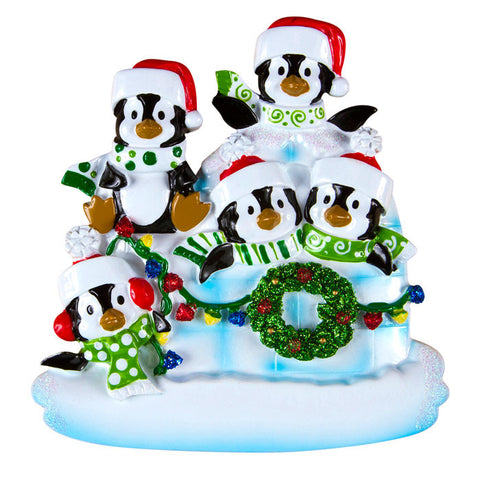 OR969-5 - Penguin Igloo of 5 Personalized Christmas Ornaments