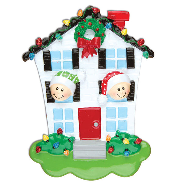 OR976-2 - House Family of 2 Personalized Christmas Ornaments